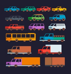Car Types Flat Icons vector image vector image