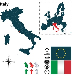 Italy and European Union map vector image