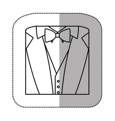 contour sticker suit with bow tie icon vector image vector image