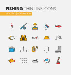 fishing linear thin line icons set with fisherman vector image vector image