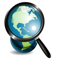 Globe under magnifying glass vector image