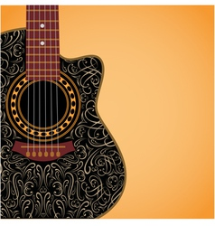 gradient background with clipped guitar vector image vector image