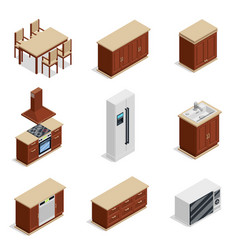 kitchen furniture isometric icons set vector image vector image