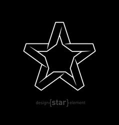 One color imitation of origami star from paper on vector