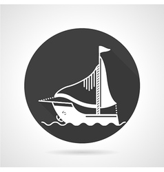 Sail boat black round icon vector image