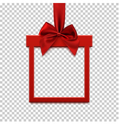 square banner in form of gift with red ribbon and vector image