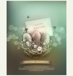 vintage easter eggs in a wicker nest green grass vector image
