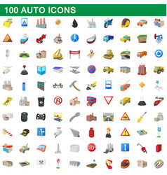 100 auto icons set cartoon style vector image