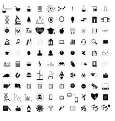 100 black education icons set vector