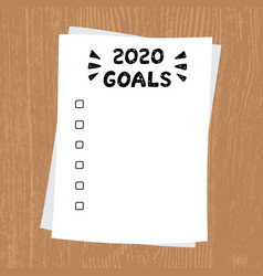 2020 new year goals clipboard with white sheet vector