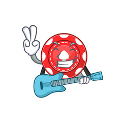 A mascot gambling chips performance with guitar vector