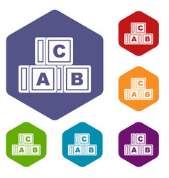 Abc cubes icons set hexagon vector