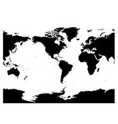 America Centered World Map High Detail Black Vector Image