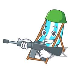 Army beach chair character cartoon vector