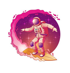 Astronaut surfing in outer space cartoon vector