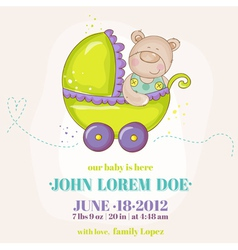 Baby boy arrival card - baby bear in carriage vector