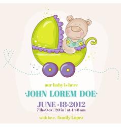 Baby boy arrival card - bear in carriage vector