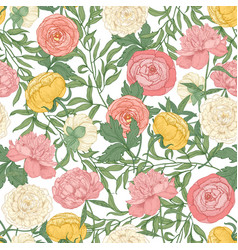 botanical seamless pattern with gorgeous blooming vector image