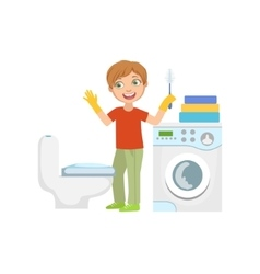 Boy cleaning the toilet with brush in bathroom vector