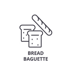 bread baguette line icon outline sign linear vector image