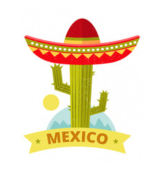 Bright grunge mexican logo or print vector