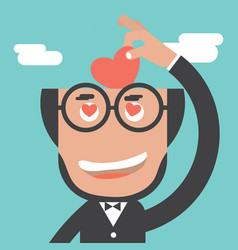 businessman keeps heart in bald head vector image