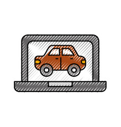 Car in display laptop icon service diagnostic vector