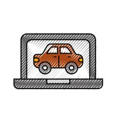 Car in display laptop icon service diagnostic vector