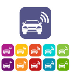 Car with wifi sign icons set vector