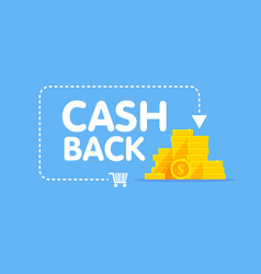 cashback concept logo coins and arrow vector image