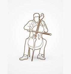 cellist player a man play cello classic music vector image