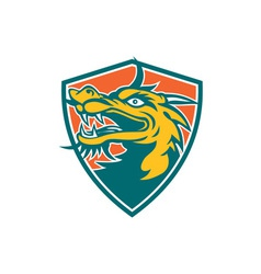 Chinese dragon head shield retro vector
