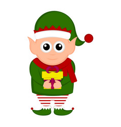 christmas elf character holding a present vector image