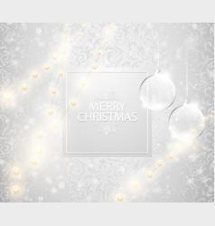 christmas light shining snowfall background merry vector image