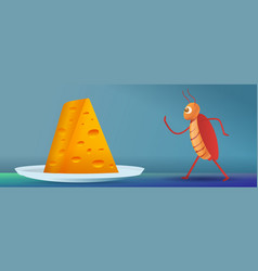 Cockroach going to cheese piece concept banner vector