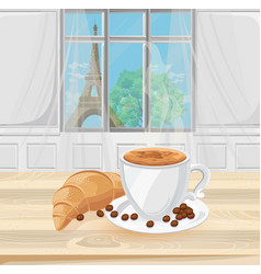 Coffee cup and croissant with eiffel tower view on vector