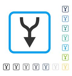 Combine arrow down framed icon vector