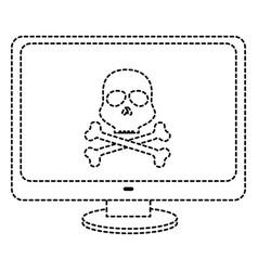computer display with skull virus alert vector image