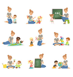 Cute little boys and girls playing and studying vector