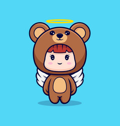 Design cute girl wearing bear costume have vector
