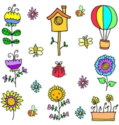 Doodle of spring set with colorful vector