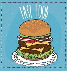 double cheeseburger in handmade cartoon style vector image