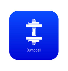 Dumbbell icon blue vector