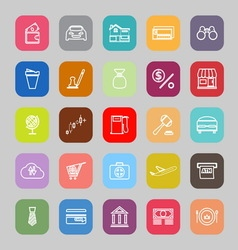 E wallet line flat icons vector