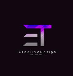 Et letter logo design purple texture creative vector