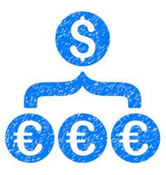 Euro dollar conversion aggregator grunge icon vector