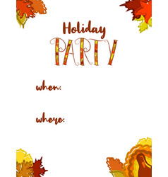 Fall holiday party template vector