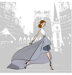 fashionable beautiful girl in green grey skirt vector image
