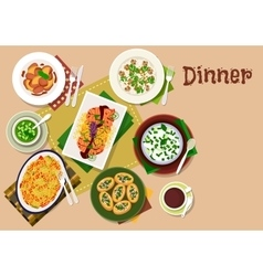Festive dinner dishes icon for healthy menu design vector image