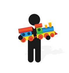 figure man holds childrens color toy train with vector image